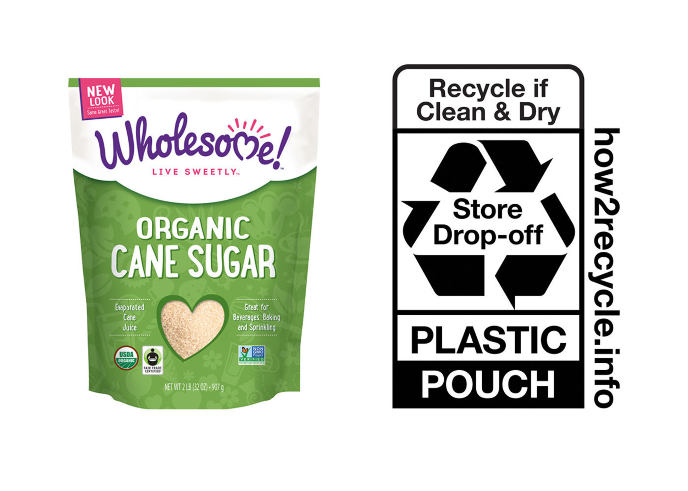 """Wholesome! will be the first organic sweetener brand to join How2Recycle in promoting recycling education. How2Recycle has created a universal recycling language for consumers through the use of special on-package logos that provide clear instructions for each piece of recyclable packaging. Wholesome! will first integrate these logos onto its organic granulated sugar pouches and then transition its remaining U.S. products to a package with the How2Recycle logo over the next year. The recyclable stand-up pouches will carry the """"store drop off"""" logo instructing consumers to drop their empty pouches in the plastic bag recycling bins found at most grocery stores."""