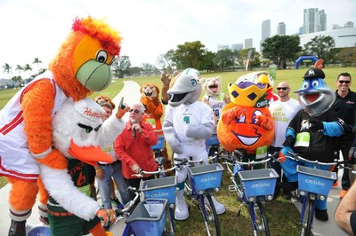 Miami's sports mascots warm-up alongside Bill Talbert, Greater Miami Convention & Visitors Bureau (GMCVB) President & CEO prior to a friendly competitive race to kick-off the GMCVB's Miami Sports & Wellness Month.