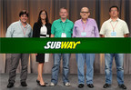 2014 Development Agents of the Year for the SUBWAY(R) restaurant chain pictured with Senior Vice President Suzanne Greco. (LtoR) Max Lemos of Rio de Janeiro, Brazil; Suzanne Greco; Kris Perrier of Saskatchewan, Canada; Mohsen Adeeb of Saudi Arabia; and Wei Jia of Shandong, China. (PRNewsFoto/SUBWAY Restaurants)