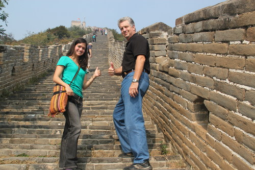 Nicole Reichenbach and her father, Robert Reichenbach, climbing the Great Wall of China (PRNewsFoto/Debbie's Dream Foundation)