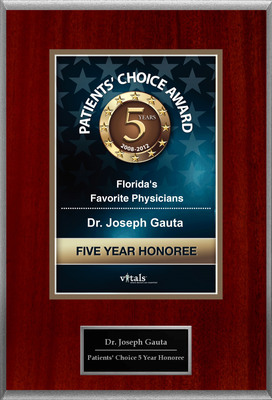 Dr. Joseph Gauta of Naples, FL is a Five-Time Patients' Choice Honoree.  (PRNewsFoto/American Registry)