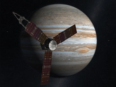Artist concept of NASA's Juno spacecraft at Jupiter.