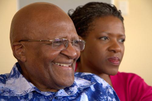 Archbishop Desmond Tutu with his daughter and co-author Reverend Mpho Tutu. (PRNewsFoto/HarperCollins ...