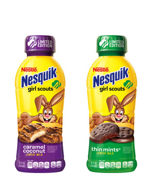 Nesquik(R) is introducing the ultimate double awesome experience with new limited-edition Girl Scout CookieTM flavored beverages in Thin Mints(R) and Caramel Coconut. To celebrate this Double Awesome debut, Nesquik will send a lucky fan on a two-day Double Awesome Trip! Fans can enter by uploading a picture to Twitter of a moment made double awesome with Nesquik Girl Scouts beverage using #DblAwesomeContest. (PRNewsFoto/Nestle USA)