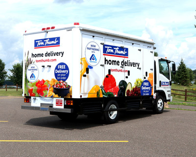 Tom Thumb grocery delivery trucks hit the road in in Dallas - Fort Worth.