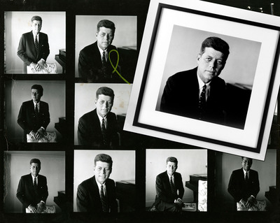 The portrait of John F. Kennedy at right was digitally restored from photographer Jacques Lowe's contact sheet, seen in the background. The photo was taken during Kennedy's 1958 Senate re-election campaign. Estate of Jacques Lowe.