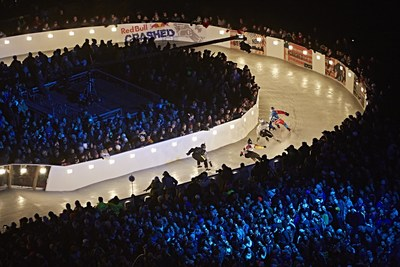 Red Bull Crashed Ice athletes compete in Saint Paul, MN in 2015.
