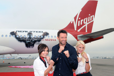 "Virgin America Unveils Customized ""Real Steel"" Aircraft at LAX, alongside the DreamWorks Pictures' Star - Hugh Jackman.  (PRNewsFoto/Virgin America, Bob Riha, Jr.)"