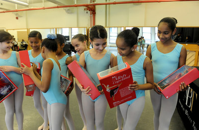 May 2, 2016 - American Ballet Theater's Project Plie dancers get a first look at the Misty Copeland Barbie doll in New York City. Credit: Diane Bondareff, AP Photographer