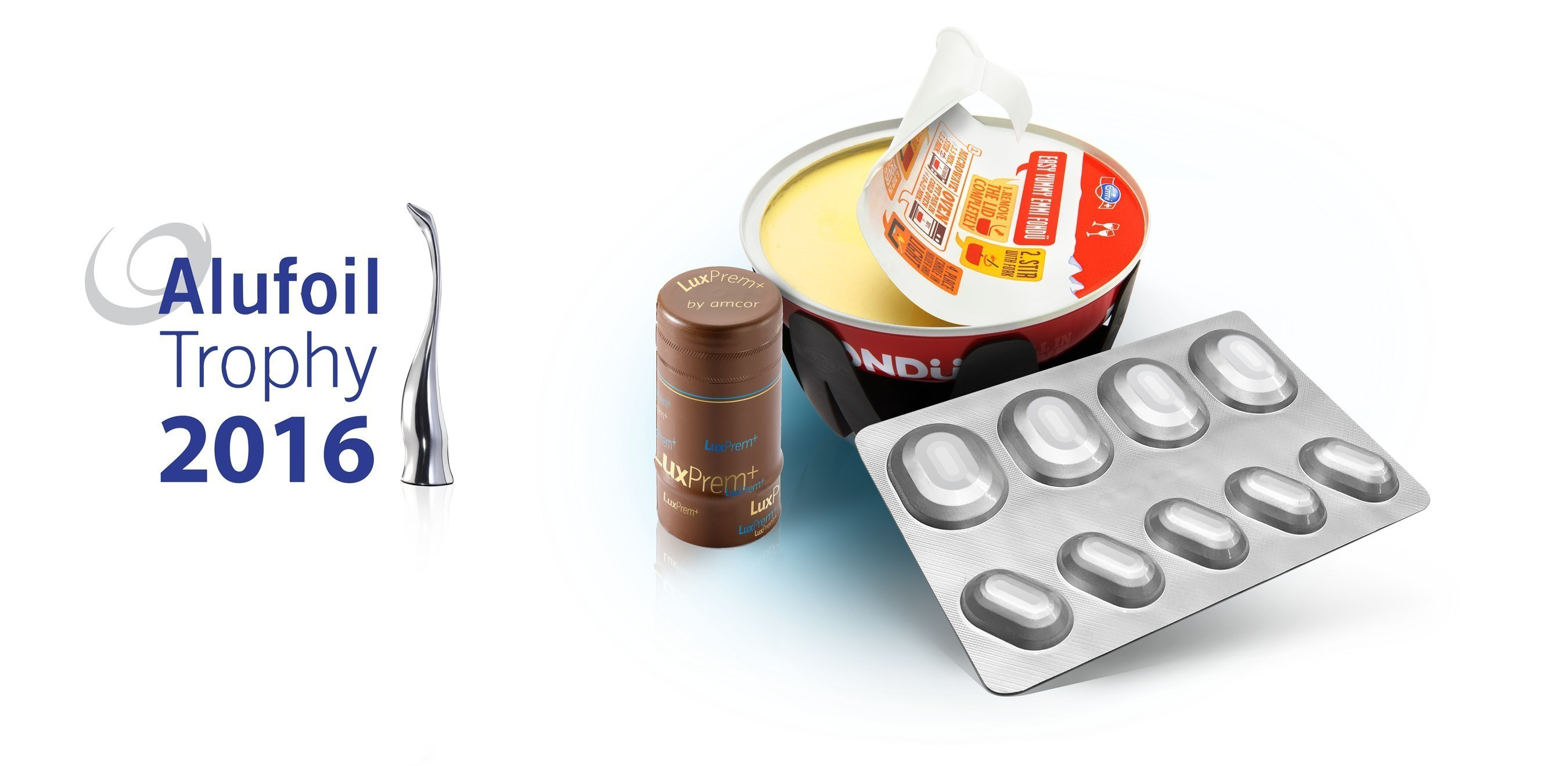 "Amcor products win three Alufoil Trophy 2016 awards. Left to right: Amcor LuxPrem+ overcap for premium spirits, Emmi's ""All In One Fondu"" ready-to-eat cheese fondue packaging, and Amcor's Formpack(R) Ultra blister for pharmaceutical products"