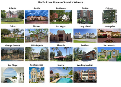 Redfin Iconic Homes of America Winners.  (PRNewsFoto/Redfin Corporation)