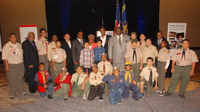 Shawn Baldwin (standing, center), Chairman of AIA Group, with fellow recipients of the Boy Scouts of America's Whitney M. Young Jr. Service Award. The award is presented to individuals who have demonstrated exceptional service and have blazed a trail of leadership toward improving life for inner-city youth. The ceremony took place November 14 at the Hyatt Regency Chicago.