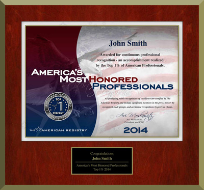 Announcing the 2014 Edition of America's Most Honored Professionals (PRNewsFoto/American Registry)