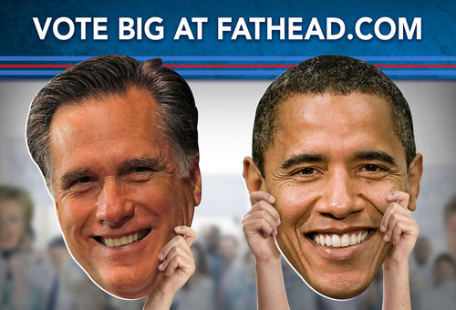 Fathead Elects President Obama and Candidate Romney as Real Big Heads.  (PRNewsFoto/Fathead)