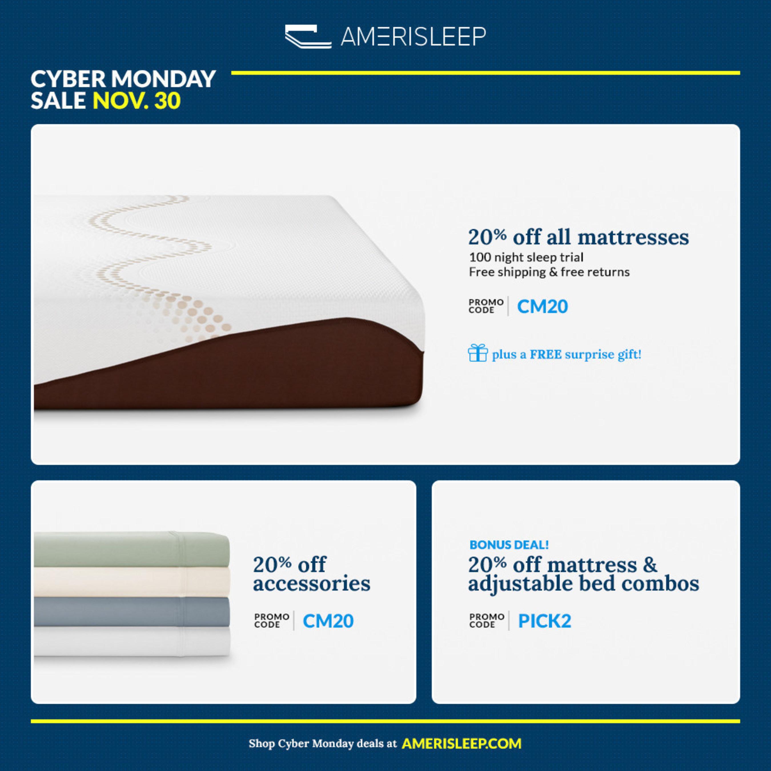 Amerisleep's 2015 Cyber Monday Mattress Sale on Memory Foam Announced