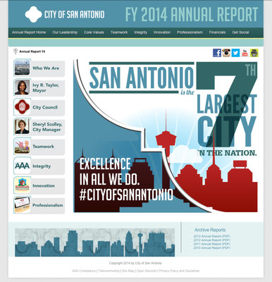 "The City of San Antonio announces the release of its Fiscal Year 2014 Annual Report, ""Excellence in All We Do. #CityofSanAntonio,"" available at http://sanantonio.gov/annualreport."