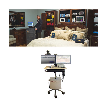 (Top Photo) A Guardian 24/7 pre-positioned medical ReadyRoom(TM) - (Lower Photo) AMD Telemedicine Peripherals.  (PRNewsFoto/Glowpoint, Inc.)