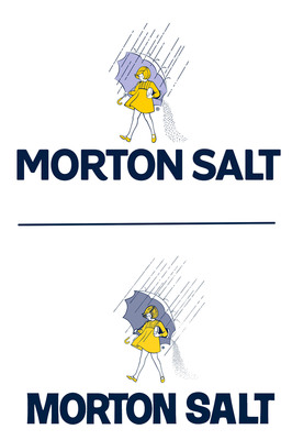 """Morton Salt's refreshed logo (top) features a fresh and friendly """"Morton Salt"""" word mark and maintains the bold, all-caps style of the previous version (bottom). The company also made subtle updates to the Morton Salt Girl - who is celebrating her 100th birthday in 2014 - to give her a simpler, cleaner look that fits well with the new word mark.  (PRNewsFoto/Morton Salt, Inc.)"""