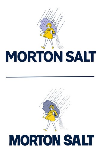 """Morton Salt's refreshed logo (top) features a fresh and friendly """"Morton Salt"""" word mark and maintains the bold, all-caps style of the previous version (bottom). The company also made subtle updates to the Morton Salt Girl - who is celebrating her 100th birthday in 2014 - to give her a simpler, cleaner look that fits well with the new word mark. (PRNewsFoto/Morton Salt, Inc.) (PRNewsFoto/MORTON SALT, INC.)"""