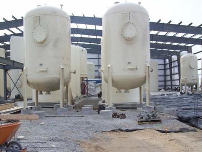 Steel elution pressure vessels used to remove uranium loaded onto ion exchange resin.  (PRNewsFoto/Ur-Energy Inc.)