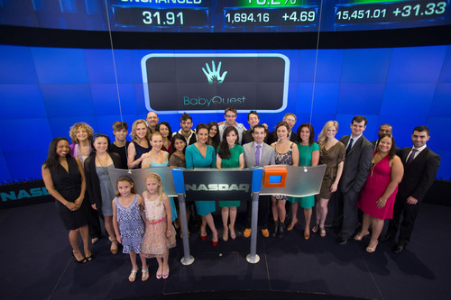 Representatives from Ferring Pharmaceuticals Inc. join Baby Quest, America Olivo, actress from Broadway and film, and other celebrities in ringing the NASDAQ opening bell on Wednesday, August 14, 2013. (PRNewsFoto/Ferring Pharmaceuticals Inc. (c) 2013, The NASDAQ OMX Group, Inc.)