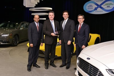 Maxion Wheels receives the 2016 Ford World Excellence Award for quality excellence during a ceremony on May 19, 2016. Pictured from left to right are: Raj Nair, Executive Vice President, Product Development and Chief Technical Officer...<br /><br />Source : <a href=
