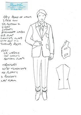 Sketch of Davies & Son 3 piece suit