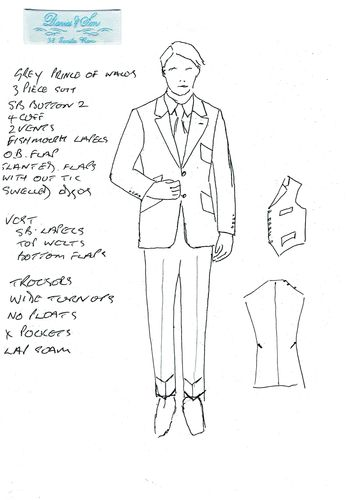 Sketch of Davies & Son 3 piece suit (PRNewsFoto/The Woolmark Company)