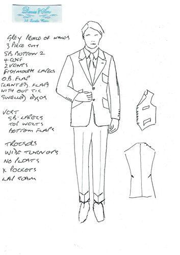 Sketch of Davies & Son 3 piece suit (PRNewsFoto/The Woolmark Company)