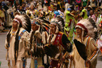"The Gathering of Nations, the world's largest gathering of Native American and indigenous people, takes place in Albuquerque, New Mexico between April 26 and 28, 2012. During the ""Grand Entry,"" thousands of Native American dancers simultaneously enter University of New Mexico University Arena dressed in colorful regalia to the sounds of beating drums.  (PRNewsFoto/Gathering of Nations)"