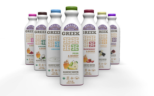 Helios Kefir Goes Greek with Extra Protein and New Pear & Honey Flavor.  (PRNewsFoto/Lifeway Foods, Inc.)
