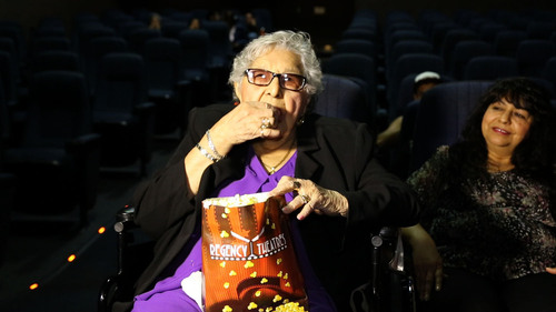 A 100-year-old woman is inspired to attend a theater for the first time ever (PRNewsFoto/Arenas Entertainment)