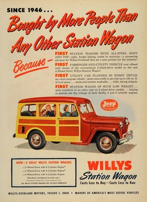 """Prior to the war, woodie station wagons were expensive hand-crafted wood paneled luxury vehicles but that would all change thanks to designer Brooks Stevens.  Willys-Overland wanted their new product-line to leverage on the """"jeep"""" success.  The answer for 1946: the Willys-Overland all-steel, two-door, two-wheel drive """"Station Wagon"""" with a """"woodie-look.  It was a hit - finally a woodie for masses!"""