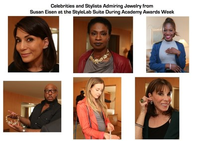 Celebrities and Stylists Admiring Jewelry from Susan Eisen at the StyleLab Suite During Academy Awards Week: Top Row from Left to Right: Marisol Nichols, Adina Porter, Tysha Williams; Bottom Row from Left to Right: Tim Snell, Alyssa Greene, Kate Linder