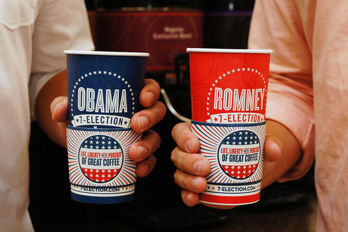 7-Eleven's unabashedly unscientific and just-for-fun coffee cup poll, 7-Election, has Obama maintaining the lead although cup counts have shifted for Romney in some swing states after the first presidential debate.  (PRNewsFoto/7-Eleven, Inc.)