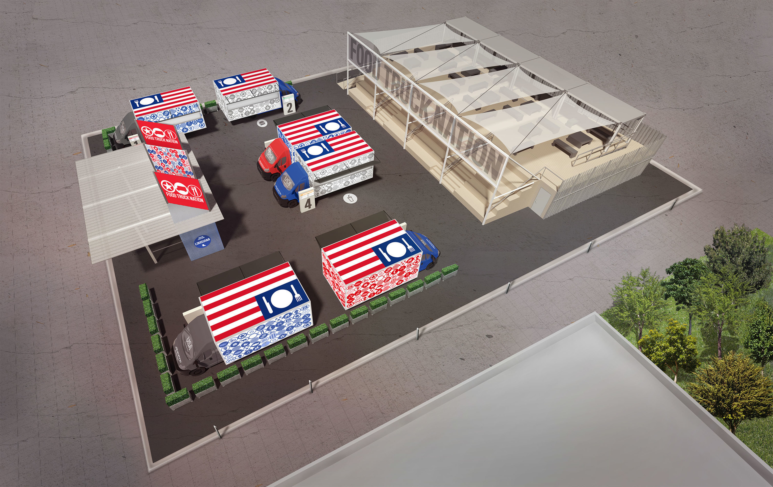 Aerial rendering of the Food Truck Nation exhibit as part of the USA Pavilion at Expo Milano 2015.
