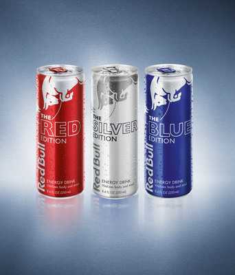 The new Editions from Red Bull, from left, sweet cranberry, fresh lime and fruity blueberry, are available only at 7-Eleven stores through the end of the year in advance of the beverages' national launch in March.  (PRNewsFoto/7-Eleven, Inc.)