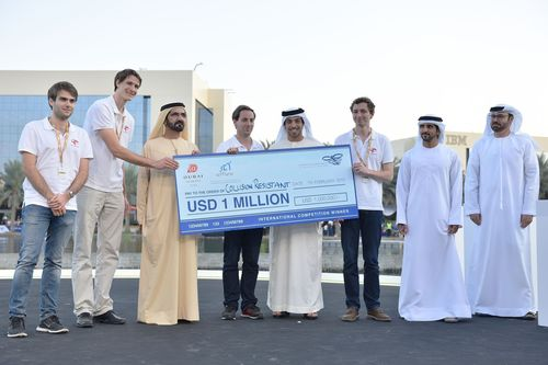 The Drones for Good Award is presented by His Highness Mohammed bin Rashid Al Maktoum, Vice President and Prime Minister of the United Arab Emirates, to the winning team Flyability. (PRNewsFoto/Prime Minister's Office UAE)