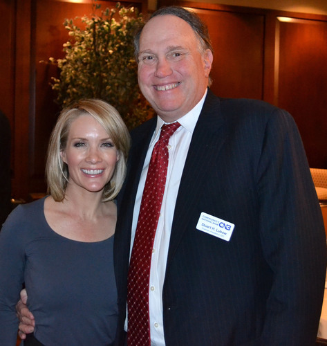 Dana Perino, co-host of Fox News' The Five, with Community National Bank Chairman, CEO & President Stuart Lubow following her talk at CNB's 4th Annual Chairman's Dinner, December 5, 2013 at Engineer's Country Club in Roslyn Harbor.  (PRNewsFoto/Community National Bank)