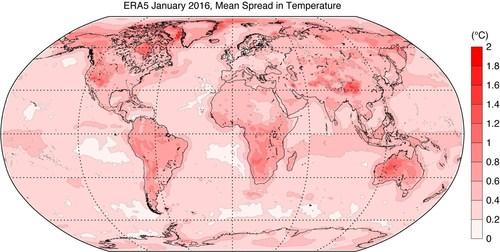 Mean spread of the ERA5 ensemble for surface air temperature in January 2016 (PRNewsFoto/ECMWF)