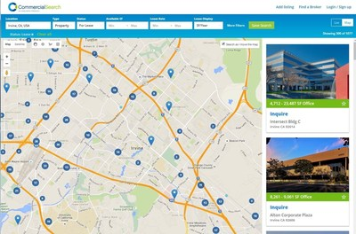 CommercialSearch.com's dynamic map-based results with fast filtering