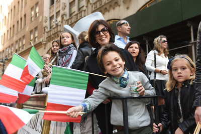 Floats travel up Fifth Avenue in New York City's Columbus Day Parade