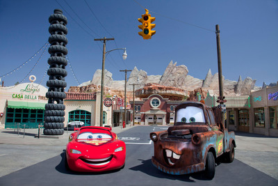 "MEET LIGHTNING MCQUEEN AND MATER IN CARS LAND - New to Disney California Adventure park, Cars Land features three immersive family attractions showcasing characters and settings from the Disney-Pixar film, ""Cars,"" including one of the largest and most elaborate themed environments ever created for a Disney park.  (Paul Hiffmeyer/Disneyland Resort).  (PRNewsFoto/Disneyland Resort, Paul Hiffmeyer)"