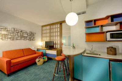 The guest rooms at Universal's Cabana Bay Beach Resort will feature bold design, period colors and a neon and retro feel.  With a hip, vintage look, the resort will offer 1800 on-site rooms - including 900 family suites and 900 standard guest rooms - adding high-quality, high-value options for families wanting an affordable on-site experience. Universal's Cabana Bay Beach Resort is scheduled to open in 2014 at Universal Orlando Resort.  (PRNewsFoto/Universal Orlando Resort)