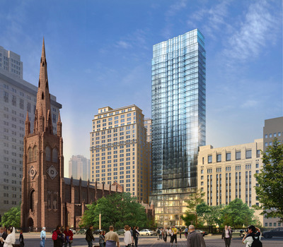 Pelli Clarke Pelli Architects was selected to design a mixed-use development for the historic Lower Manhattan parish Trinity Wall Street. In this preliminary concept design for 68-74 Trinity Place, there is a transparent base to highlight the church's mission activities. (PRNewsFoto/Pelli Clarke Pelli Architects) (PRNewsFoto/)