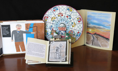The Ezra Jack Keats Foundation and the NYC Department of Education announce city-wide winners of 2015 Ezra Jack Keats Bookmaking Competition: left, The Brown M Train, by Kevin Zeng (Grade 12, P.S. 77, Brooklyn); center, The History Wheel of Coney Island, by Amelia Samoylov (Grade 8, I.S. 98, The Bay Academy for the Arts and Sciences, Brooklyn); right, When Fall Turns to Winter, by John Lee (Grade 5, P.S. 193, Alfred J. Kennedy, Queens). City-wide and other winning books on exhibit at Brooklyn Public Library Central Library, May 4-22.