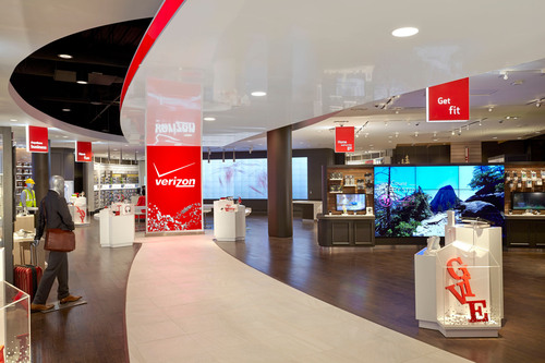 The new Chute Gerdeman-designed Verizon store at Mall of America is the first of its kind.  (PRNewsFoto/Chute ...