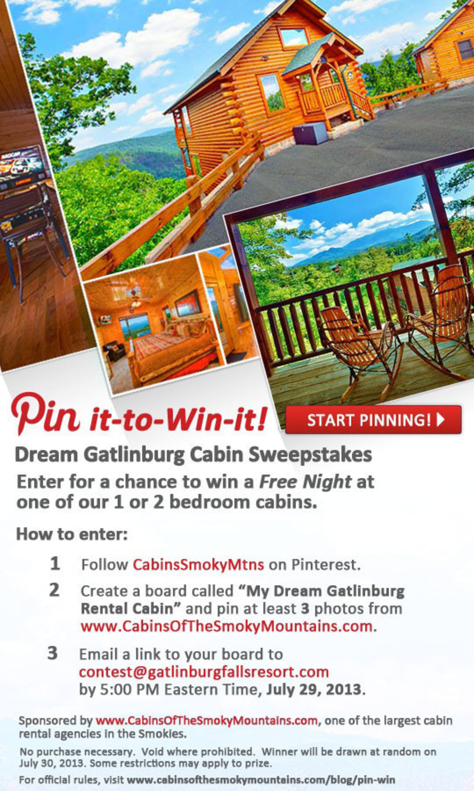 Pin It To Win It Dream Gatlinburg Cabin Sweepstakes.  (PRNewsFoto/Cabins of the Smoky Mountains)
