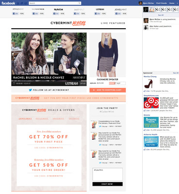 BeachMint To Broadcast Second Annual CyberMint Monday Live Social Commerce Event via Facebook with StyleList, Ustream and Who What Wear