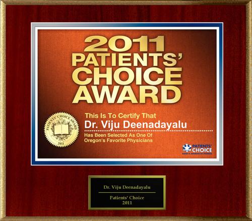 Dr. Viju Deenadayalu Selected For Patients' Choice Award 2011